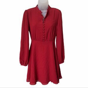 ASOS Long Sleeve Red Fit & Flare Dress Size 4